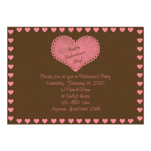 Brown and Pink Heart Valentine Party Invitation