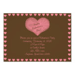 """Brown and Pink Heart Valentine Party Invitation 5"""" X 7"""" Invitation Card"""