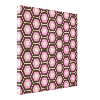 Brown and Pink Hex Tiled Canvas