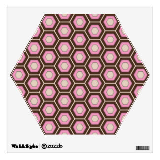 Brown and Pink Hex Tiled Wall Decal