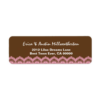 Brown and Pink Lace Wedding A004 Label