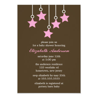 Brown and Pink Mobile Baby Shower 5x7 Paper Invitation Card