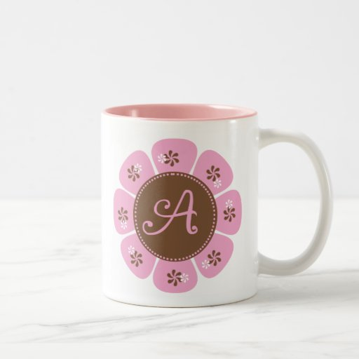 Brown and Pink Monogram A Coffee Mugs