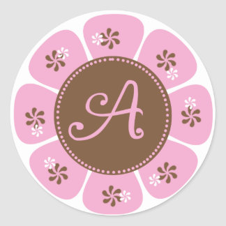 Brown and Pink Monogram A Round Stickers