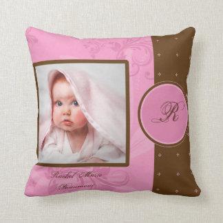 Brown and Pink Monogram Baby Photo Keepsake Pillow