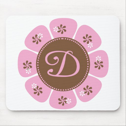 Brown and Pink Monogram D Mouse Pad