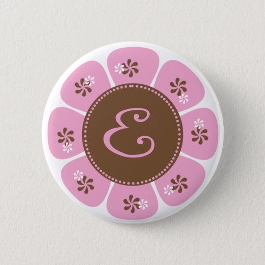 Brown and Pink Monogram E Button