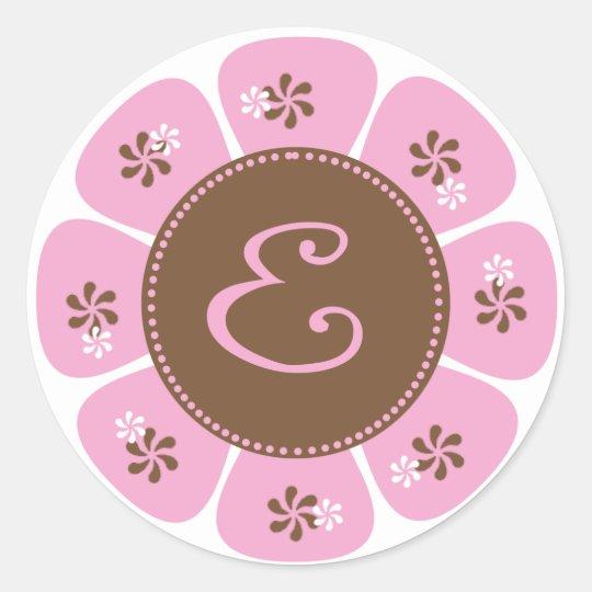 Brown and Pink Monogram E Classic Round Sticker