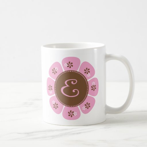Brown and Pink Monogram E Coffee Mug
