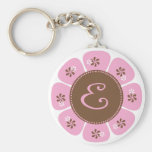 Brown and Pink Monogram E Key Chain