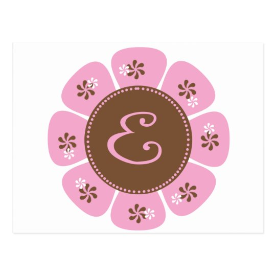 Brown and Pink Monogram E Postcard