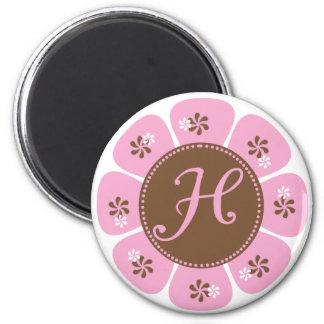 Brown and Pink Monogram H 2 Inch Round Magnet