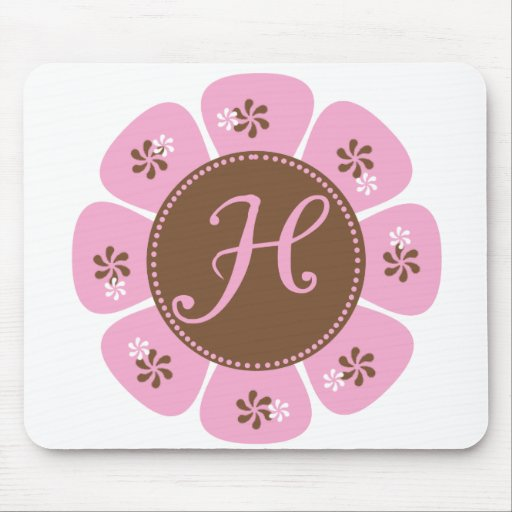 Brown and Pink Monogram H Mouse Mat