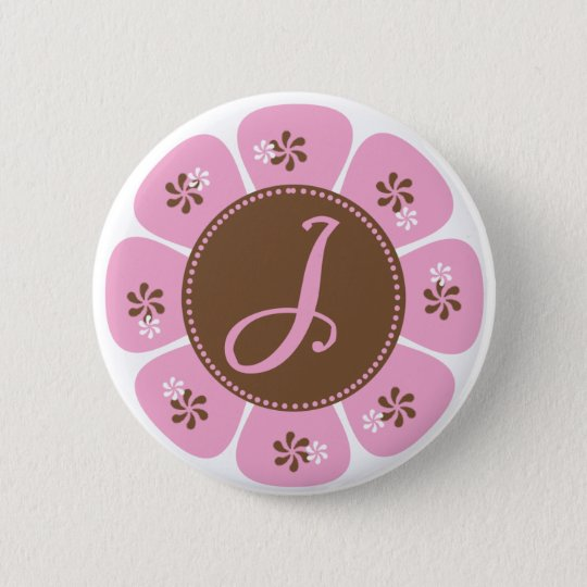 Brown and Pink Monogram J Button