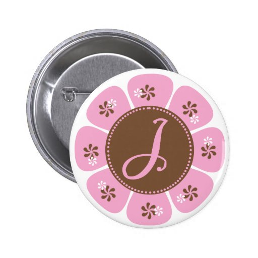 Brown and Pink Monogram J Pinback Button