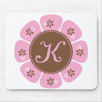 Brown and Pink Monogram K Mouse Pad