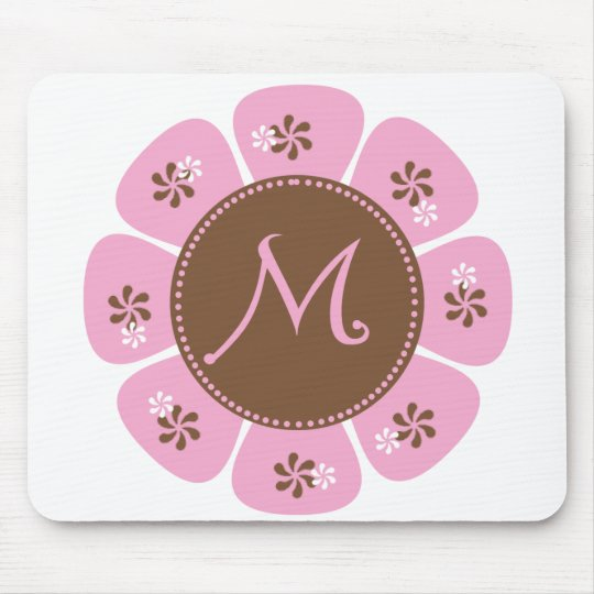 Brown and Pink Monogram M Mouse Pad
