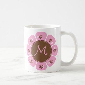 Brown and Pink Monogram M Classic White Coffee Mug