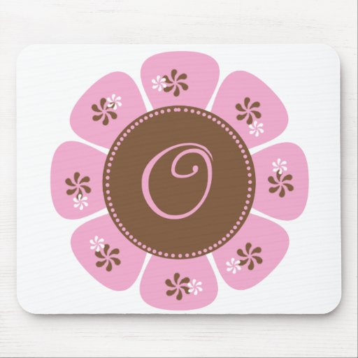 Brown and Pink Monogram O Mouse Pad