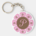 Brown and Pink Monogram P Keychains