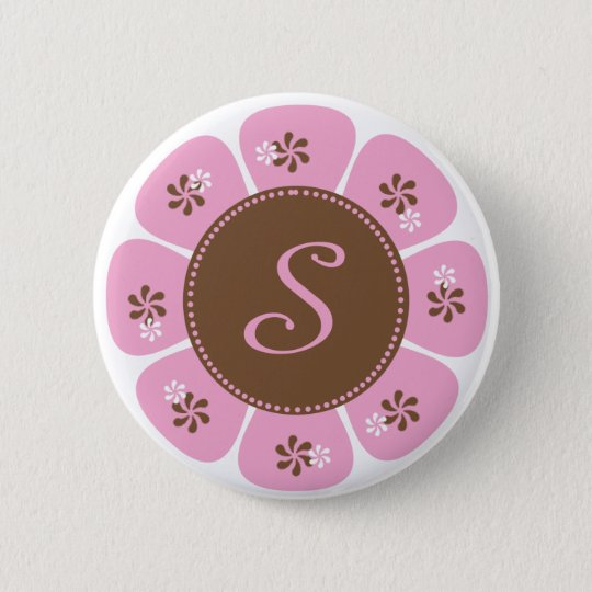 Brown and Pink Monogram S Pinback Button
