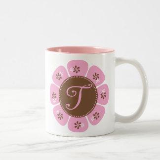 Brown and Pink Monogram T Two-Tone Coffee Mug