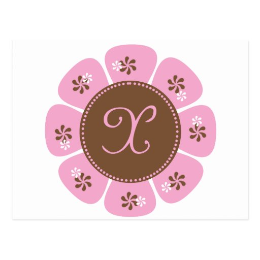 Brown and Pink Monogram X Postcards