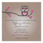 Brown and Pink Owl Baby Shower Invitation