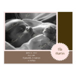 Brown and Pink Photo Announcement (Customizable) Postcards