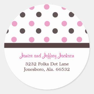 Brown and Pink: Polka Dot Address Sticker