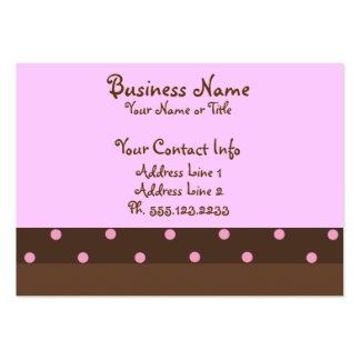 "Brown and Pink Polka Dot ""Chubby"" Business Cards"
