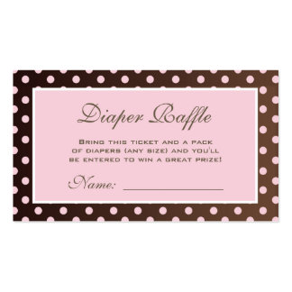 Brown and Pink Polka Dot Diaper Raffle Ticket Double-Sided Standard Business Cards (Pack Of 100)