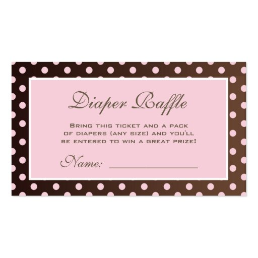 Diaper pin business card templates page2 bizcardstudio brown and pink polka dot diaper raffle ticket business card reheart Choice Image