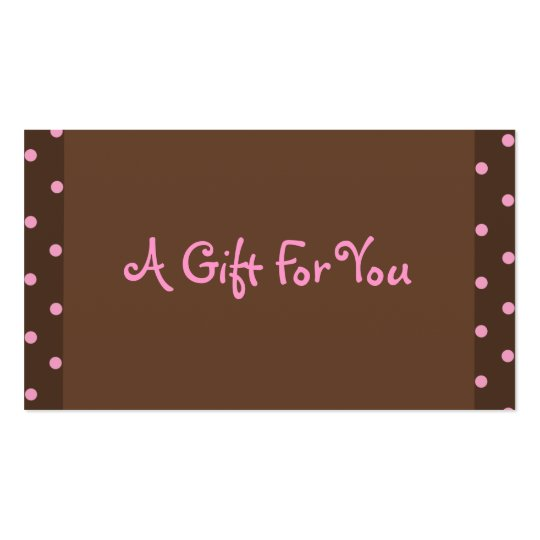 Brown and Pink Polka Dot Gift Tags Business Card