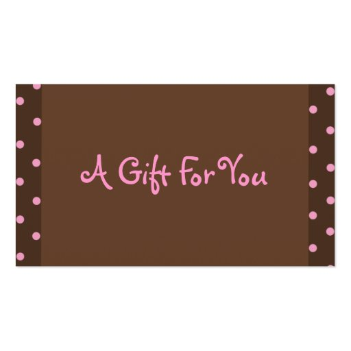 Brown and Pink Polka Dot Gift Tags Double-Sided Standard Business Cards (Pack Of 100)