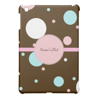 Brown and Pink Polka Dot iPad Mini Case