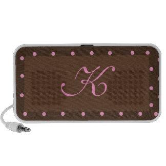 Brown and Pink Polka Dot Monogram Speaker