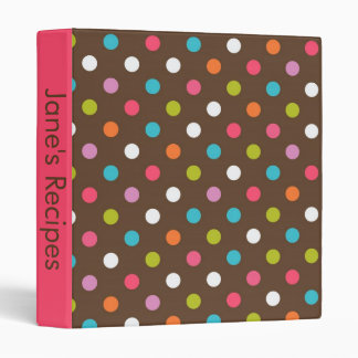 Brown and Pink Polka Dot Recipe Book Binder