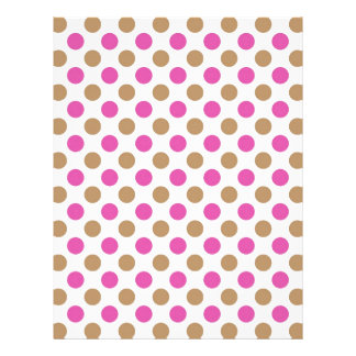 Brown and pink polka dots pattern letterhead
