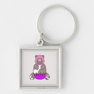 Brown And Pink Polkadot Bear Silver-Colored Square Keychain