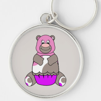 Brown And Pink Polkadot Bear Silver-Colored Round Keychain