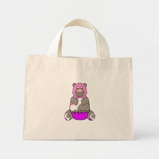 Brown And Pink Polkadot Bear Mini Tote Bag