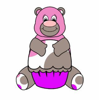 Brown And Pink Polkadot Bear Photo Sculpture Keychain