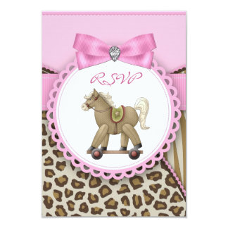 Brown and Pink Rocking Horse Baby Girl Shower Card
