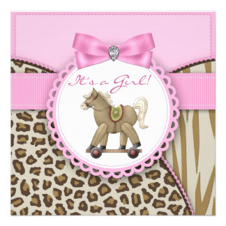 Brown and Pink Rocking Horse Baby Girl Shower Personalized Invite