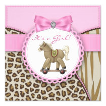 Brown and Pink Rocking Horse Baby Girl Shower Invitation