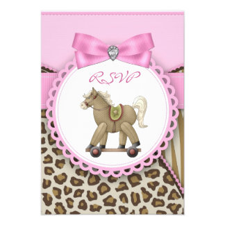 Brown and Pink Rocking Horse Baby Girl Shower Announcement