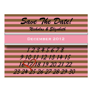 Brown and Pink Save the Date Custom Calandar Postcard