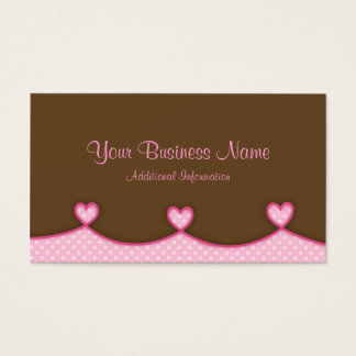 Brown and Pink Scalloped Hearts Business Card