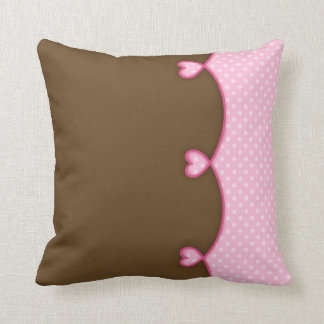 Brown and Pink Scalloped Hearts Throw Pillows